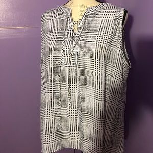 Peasant style shell blouse with ties